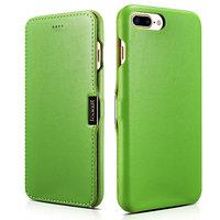 Кожаный чехол книга для iPhone 7 Plus / 8 Plus зеленый c магнитной защелкой - i-Carer Luxury Series Magnetic Side-open Green