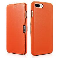 Кожаный чехол книжка для iPhone 7 Plus / 8 Plus оранжевый c магнитной защелкой - i-Carer Luxury Series Magnetic Side-open Orange