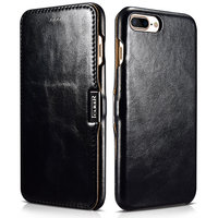 Черный кожаный чехол книга для iPhone 7 Plus / 8 Plus винтажный с магнитной защелкой - i-Carer Vintage Series Side-open Magnetic Black