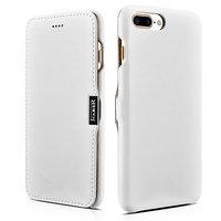 Кожаный чехол книга для iPhone 7 Plus / 8 Plus белый с магнитной защелкой - i-Carer Luxury Series Magnetic Side-open White