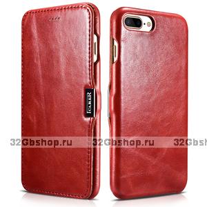 Красный кожаный чехол книга для iPhone 7 Plus / 8 Plus винтажный с магнитной защелкой - i-Carer Vintage Series Side-open Magnetic Red