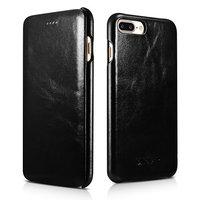 Черный винтажный кожаный чехол книжка для iPhone 7 Plus / 8 Plus - i-Carer Curved Edge Vintage Series Black