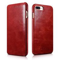 Кожаный чехол книга для iPhone 7 Plus / 8 Plus красный винтажный - i-Carer Curved Edge Vintage Series Red