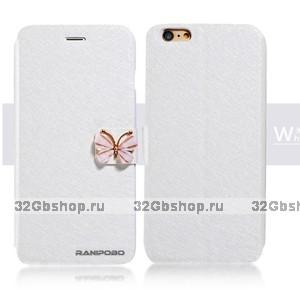 """Чехол книжка - подставка для iPhone 6 Plus / 6s Plus (5.5"""") белая с застежкой бабочкой и отсеком для хранения карт"""