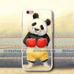 Силиконовый чехол накладка для iPhone 7 / 8 с рисунком Панда боксер