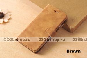 Кожаный чехол книжка подставка для iPhone 7 / 8 коричневый