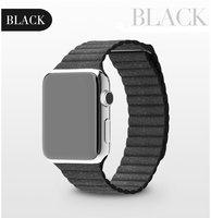 Черный кожаный магнитный ремешок для Apple Watch 42mm