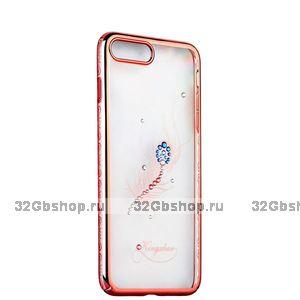 Розовый пластиковый чехол со стразами KINGXBAR для iPhone 7 с рисунком перо