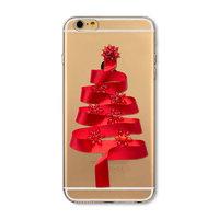 Прозрачный силиконовый чехол для iPhone 7 / 8 - Transparent Silicone Case с рисунком Ёлка из красной ленты
