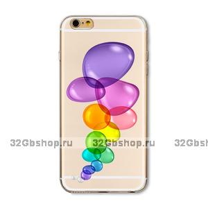 Прозрачный силиконовый чехол для iPhone 7 / 8 - Transparent Silicone Case с рисунком Пузыри