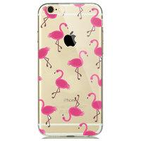 Прозрачный силиконовый чехол для iPhone 7 / 8 - Transparent Silicone Case с рисунком Фламинго