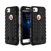 Защитный противоударный двухсторонний чехол для iPhone 7 / 8 пластик + силикон черный