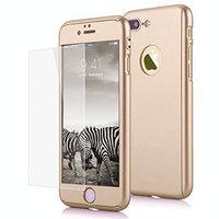 """Двухсторонний пластиковый чехол 360 для iPhone 7 Plus / 8 Plus (5.5"""") золотой - Gold Soft-touch с защитным стеклом"""