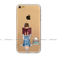 Прозрачный силиконовый чехол для iPhone 6 / 6s - Transparent Silicone Case с рисунком Девушка с книгой