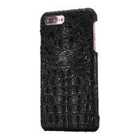 Черный кожаный чехол для iPhone 7 Plus / 8 Plus хребет крокодил