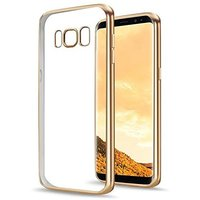 Прозрачный силиконовый чехол бампер для Samsung Galaxy S8 с золотым краем