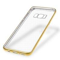 Прозрачный силиконовый чехол с золотой рамкой для Samsung Galaxy S8 Plus (S8+)