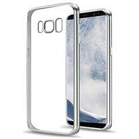 Прозрачный силиконовый чехол для Samsung Galaxy S8 с серебряной рамкой