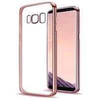 Прозрачный силиконовый чехол для Samsung Galaxy S8 с рамкой розовое золото