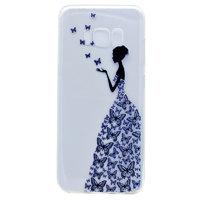 Прозрачный силиконовый чехол для Samsung Galaxy S8 с рисунком девочка в платье из бабочек