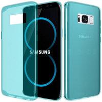 Голубой тонкий прозрачный силиконовый чехол для Samsung Galaxy S8+ Plus