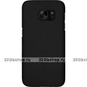 Черный пластиковый чехол с покрытием Soft Touch для Samsung Galaxy S7 Edge