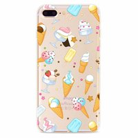 Тонкий прозрачный силиконовый чехол для iPhone 7 Plus / 8 Plus рисунок Мороженое и пирожные