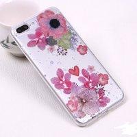 Тонкий прозрачный силиконовый чехол для iPhone 7 Plus / 8 Plus рисунок цветы