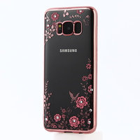Прозрачный силиконовый чехол для Samsung Galaxy S8 с рамкой розовое золото и стразами - рисунок цветы