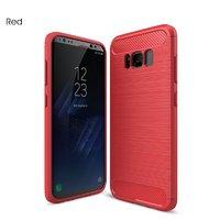 Красный защитный противоударный чехол для Samsung Galaxy S8 Plus вставки под карбон и силикон
