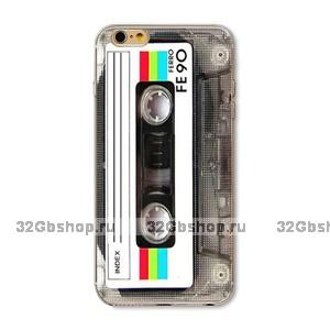 Силиконовый чехол Retro Cassette для iPhone 5 / 5s / SE черный