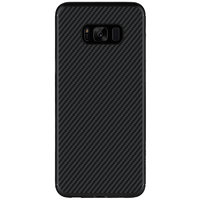 Черный силиконовый чехол имитация карбона для Samsung Galaxy S8 Plus (S8+)
