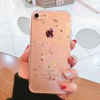 Прозрачный силиконовый чехол для iPhone 7 / 8 - Transparent Silicone Case Серебряные сердечки
