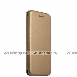 Золотой кожаный чехол-книга для iPhone 6s / 6 (4.7)