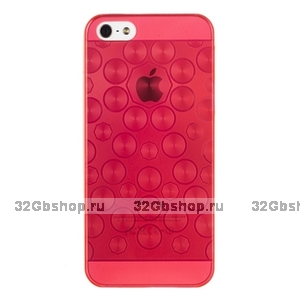 Силиконовый чехол для iPhone 5 / 5s / SE красные круги