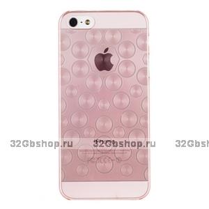 Силиконовый чехол для iPhone 5 / 5s / SE розовые круги