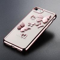 Прозрачный силиконовый чехол для iPhone 7 / 8 - Transparent Silicone Case 3D рисунок Красное золото - бабочки