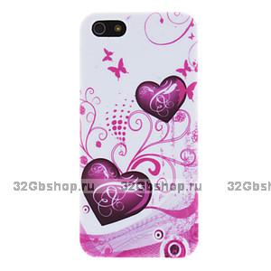Силиконовый чехол для iPhone 5 / 5s / SE сердце и бабочки