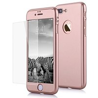 """Двухсторонний пластиковый чехол 360 для iPhone 7 Plus / 8 Plus (5.5"""") красное золотой - Gold Soft-touch с защитным стеклом"""