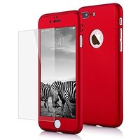 """Двухсторонний пластиковый чехол 360 для iPhone 7 Plus / 8 Plus (5.5"""") Красный Soft-touch с защитным стеклом"""