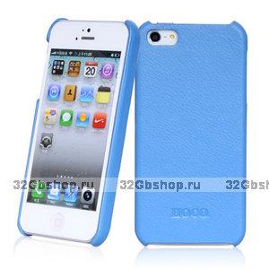 Кожаная накладка HOCO Duke для iPhone 5 / 5s / SE голубая