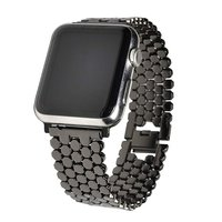Браслет черный из нержавеющей стали для Apple Watch 42мм соты