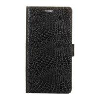 Черный кожаный чехол книжка для Samsung Galaxy Note 8 - Nuoku Croc Series с отделением для карт