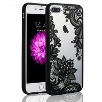 """Черный пластиковый чехол для iPhone 7 Plus / 8 Plus (5.5"""") рисунок кружева"""