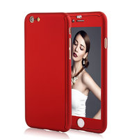 """Двухсторонний пластиковый чехол 360 для iPhone 6 / 6s (4.7"""") красный Soft-touch с защитным стеклом"""