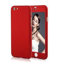 """Двухсторонний пластиковый чехол 360 для iPhone 7 / 8 (4.7"""") Красный Soft-touch с защитным стеклом"""