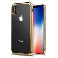 Прозрачный силиконовый чехол для iPhone X 10 с золотым бампером