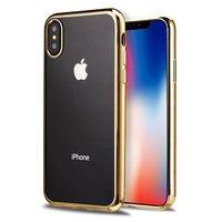 Прозрачный силиконовый чехол для iPhone X / Xs 10 с золотым бампером