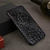 Черный чехол из кожи крокодила для iPhone X / Xs 10 хребет