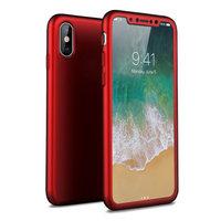 Красный двухсторонний защитный пластиковый 3D чехол MOFI 360 для iPhone X 10 с защитным стеклом